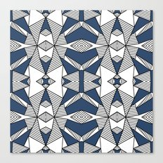 Triangle Tribal #2 Navy Canvas Print