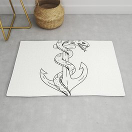 Rattlesnake Coiling on Anchor Drawing Rug