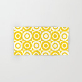 Mid Century Square and Circle Pattern 541 Yellow Hand & Bath Towel