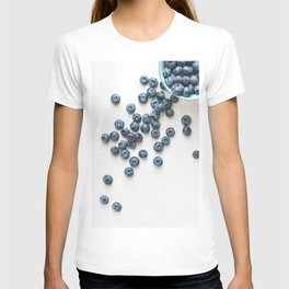 Fresh ripe blueberries over white. Food background. T-shirt