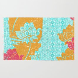 Crayon Bright Very Happy Floral Collage Abstract Rug