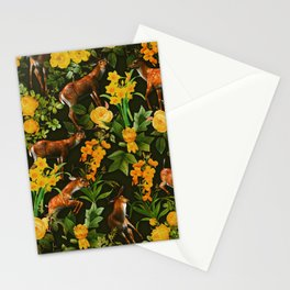 Deer and Floral Pattern Stationery Cards