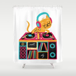 Cat DJ Shower Curtain