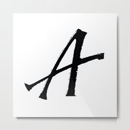 Letter A Ink Monogram Metal Print