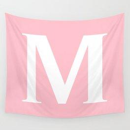 M MONOGRAM (WHITE & PINK) Wall Tapestry