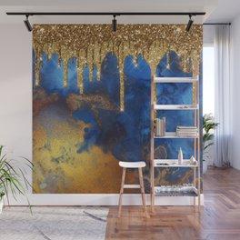 Gold Rain on Indigo Marble Wall Mural