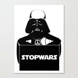 "Darth  vader ""stop wars"" Canvas Print"