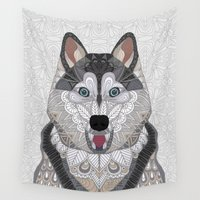 husky Wall Tapestries featuring Happy Husky by ArtLovePassion