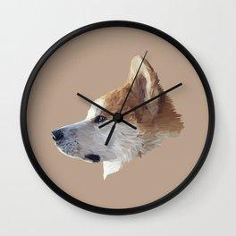 Akita low poly. Wall Clock