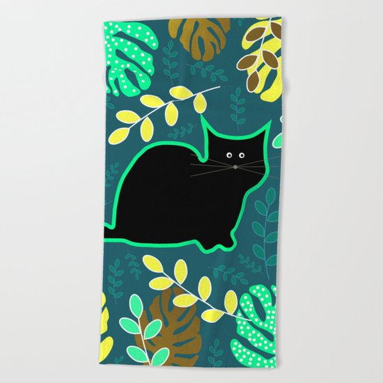 Curious cat and monstera leaves Beach Towel