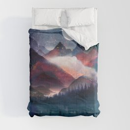 Mountain Lake Under the Stars Comforters