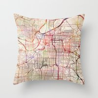 kansas Throw Pillows featuring Kansas City by MapMapMaps.Watercolors