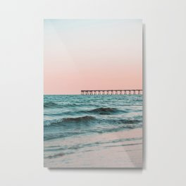 Beach Pier Sunrise Metal Print