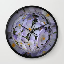 Crocus Orb - Abstract Floral Photography by Fluid Nature Wall Clock