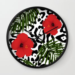Red hibiscus and palm leaves seamless pattern Wall Clock