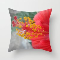 hibiscus Throw Pillows featuring Hibiscus by BACK to THE ROOTS