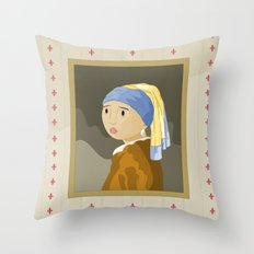 Girl with pearl by Vermeer  Throw Pillow
