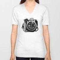 camera V-neck T-shirts featuring Camera by Luisa Mähringer