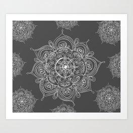 Gray mandala Art Print