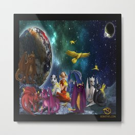 Dragonlings Space Party Metal Print