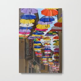 Colorful umbrella street in Italy Metal Print