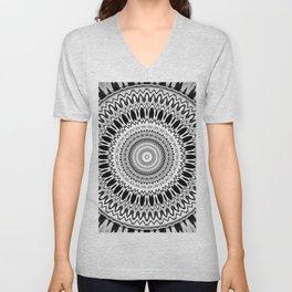 Black White Modern Mandala Unisex V-Neck