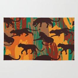 Safari orange green watercolor brushstrokes animal wild jaguar pattern Rug