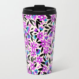 10 Pretty pattern in small flower. Small purple flowers. White background. Travel Mug