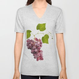 Ripe red grape fruits with leaves isolated on white.Digital painting. Unisex V-Neck
