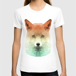 Polygon Fox | Orange & Teal Abstract Triangle Artwork T-shirt
