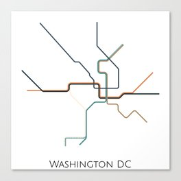 Washington DC Subway - Metro Map Canvas Print