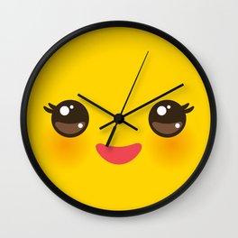 Kawaii Cartoon Face on yellow background Wall Clock