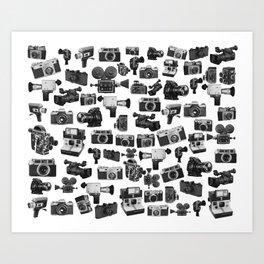 Cameras Black & White Art Print
