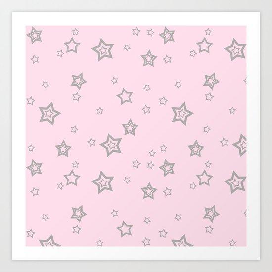 Grey little stars on pink background Art Print