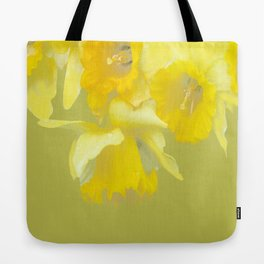Sign of Spring - Yellow Narcissus on Spring Green Background #decor #society6 #buyart Tote Bag