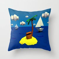 low poly Throw Pillows featuring Low-Poly Treasure Island by Jorge Antunes