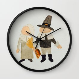 Thanksgiving Pilgrim Toddler Girl and Boy Couple Wall Clock