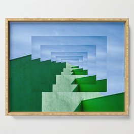Minimalist  Flat Architectural perspective design - green and blue layers Serving Tray