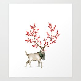 Rudolph the Winterberry Antler'd Reindeer Art Print
