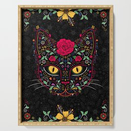 Day of the Dead Kitty Cat Sugar Skull Serving Tray
