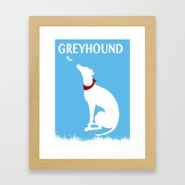 Greyhound Dog Admiring dragon fly Framed Art Print