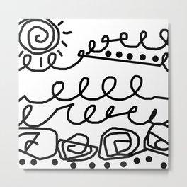 Crashing Waves - Black and White Metal Print