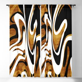 Finger Paint Swirls - Gold, Black and White Blackout Curtain