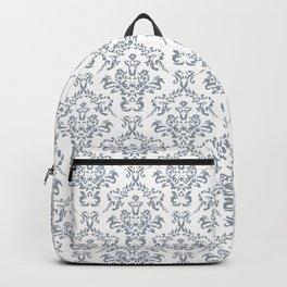 Grey Ornamental Flower & Vines Pattern Backpack