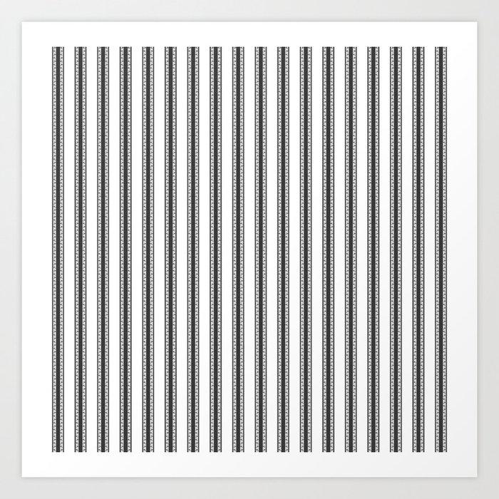 Black and White English Rose Trellis in Mattress Ticking Stripe Kunstdrucke
