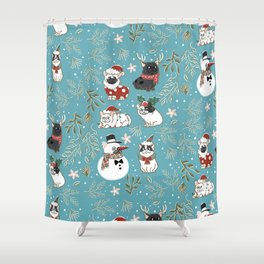 Christmas French Bulldog Shower Curtain