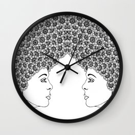 Profile of a girl with flowery hair Wall Clock