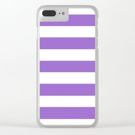 Amethyst - solid color - white stripes pattern Clear iPhone Case