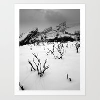 Red Rocks in the Snow Art Print