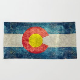 Colorado State flag, Vintage retro style Beach Towel